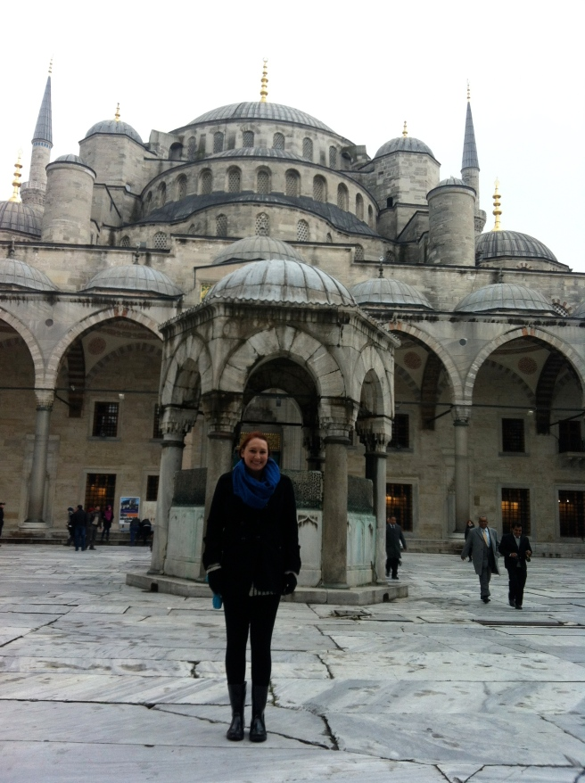 In front of the Blue Mosque in Istanbul