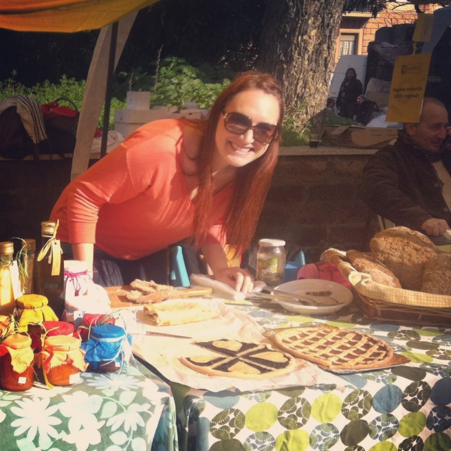 Selling my baked goods at a market in Rome.
