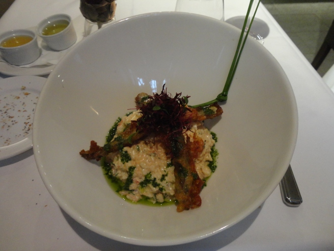 Goat Cheese and Red Wine Risotto with Fried Asparagus...