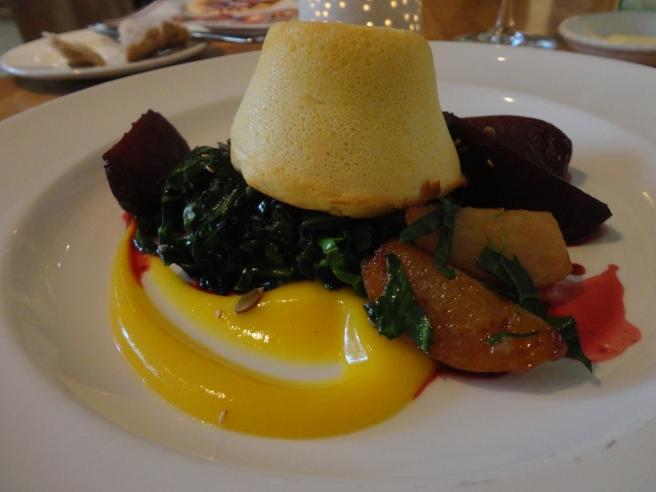 Mike's Beetroots, cooked several ways, with smoked cheese soufflé, market greens, seeds, parsley root and a citrus peel puree