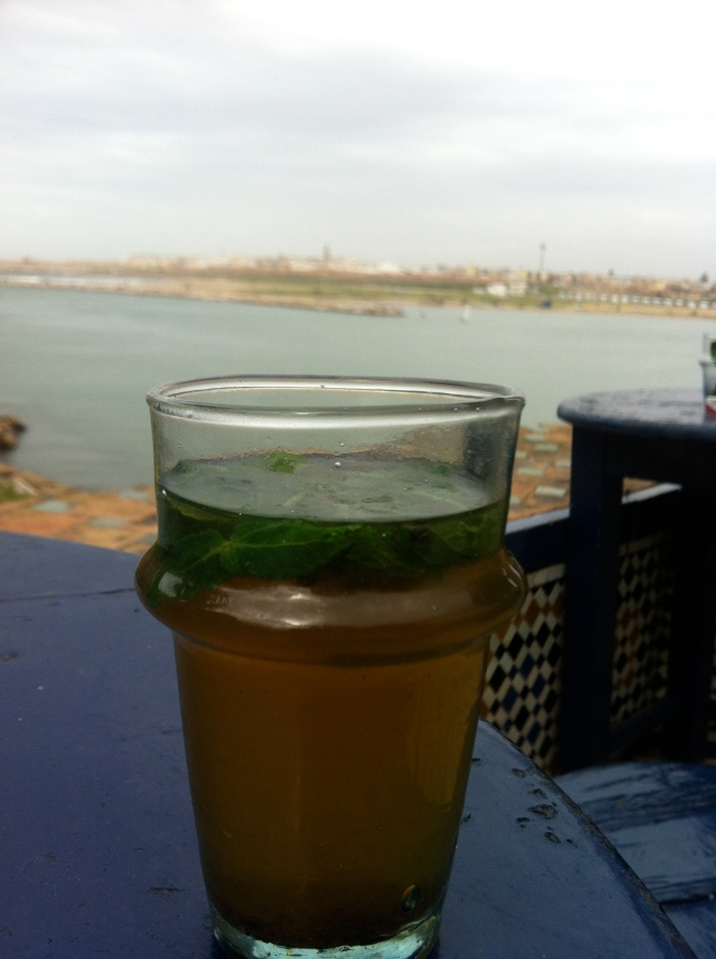 In a cafe overlooking where the river meets the sea in Rabat