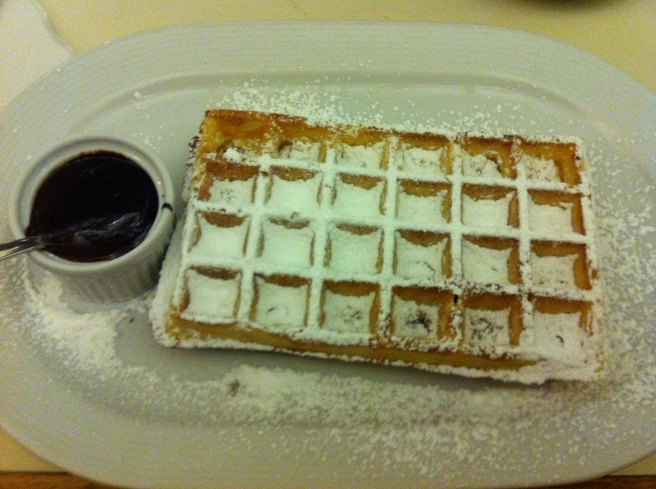 Belgian waffle with Belgian chocolate... for the win!