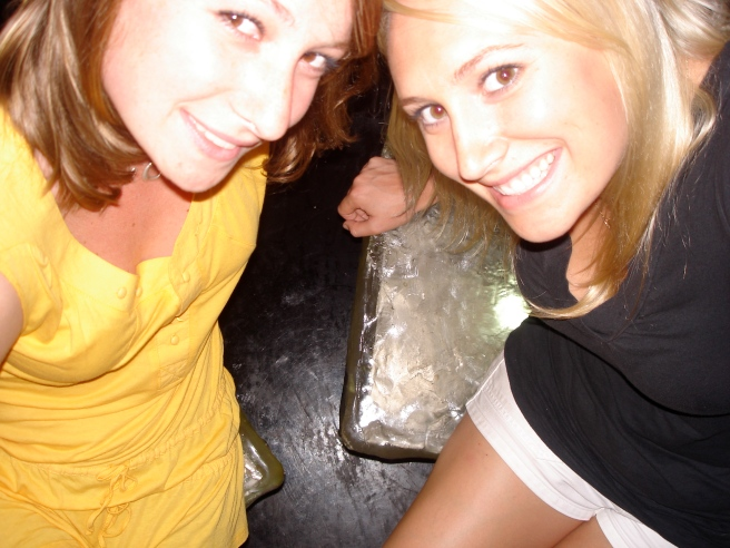 Sitting on ice cube chairs in a bar in Rome, circa 2008.