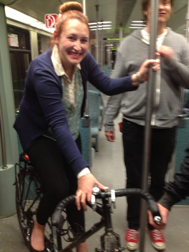 Not really sure why I thought it would be a great idea to ride a strangers bike on a moving train...