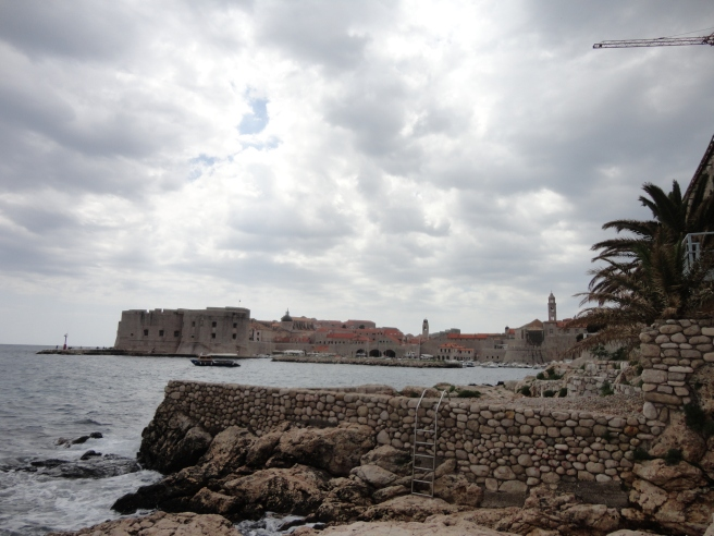 View from the beach onto Dubrovnik. Thanks clouds.
